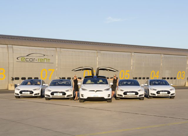 Tesla Model X and S fleet with the electric car hire Girls