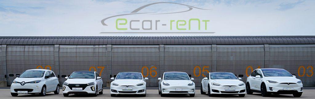 ecar-rent Flotte; Renault Zoe, Hyundai Ioniq, Tesla Model 3, Tesla Model S, Tesla Model X