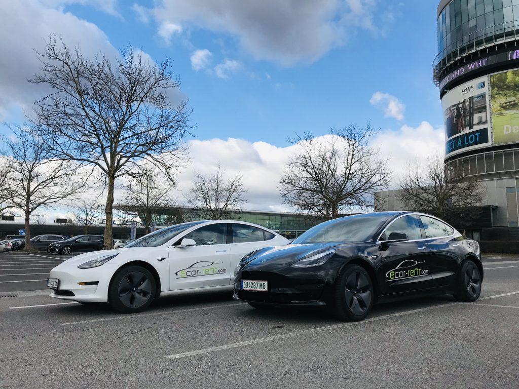 Unsere ersten beiden Tesla model 3 Mietfahrzeuge